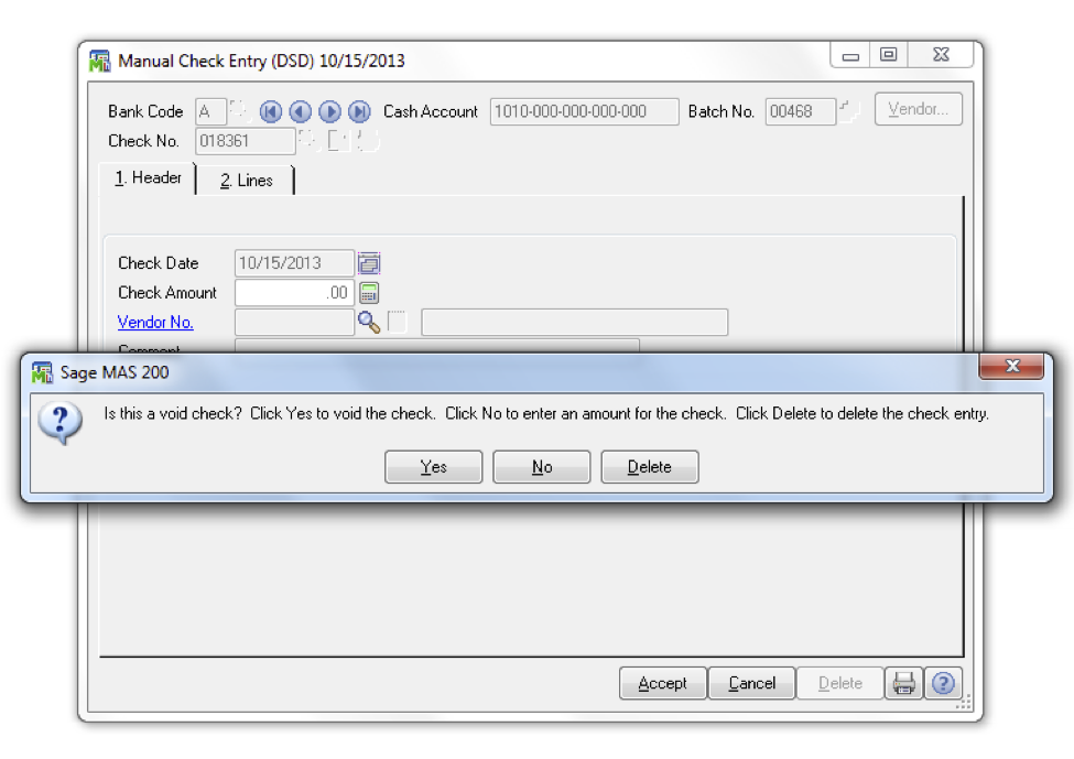 how to void a check in sage 100 erp dsd business systems