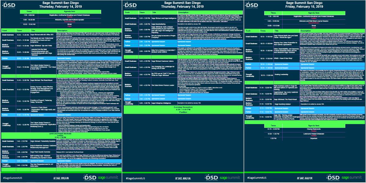 Sage Summit San Diego 2019 Detailed Agenda