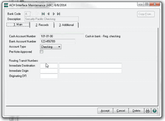 Sage 100 ACH Interface Maintenance