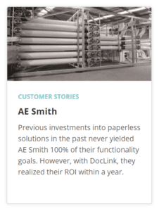 Doclink Paperless Success Story - AE Smith
