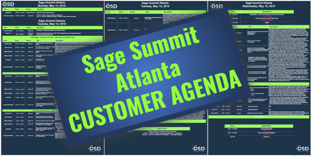 Sage Summit Atlanta Customer Agenda
