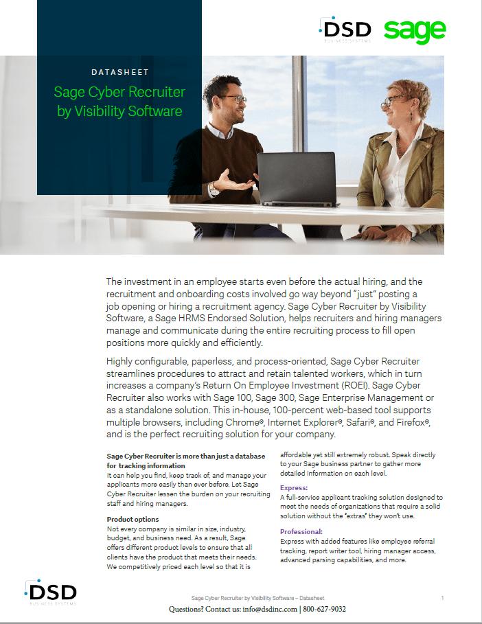 Sage Cyber Recruiter Brochure