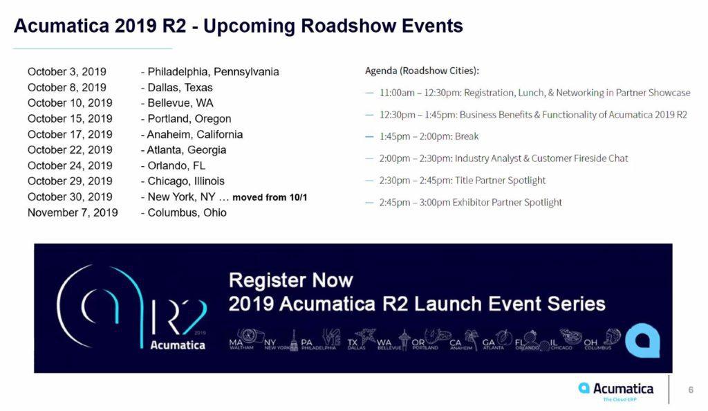 Updated schedule:R2 2019