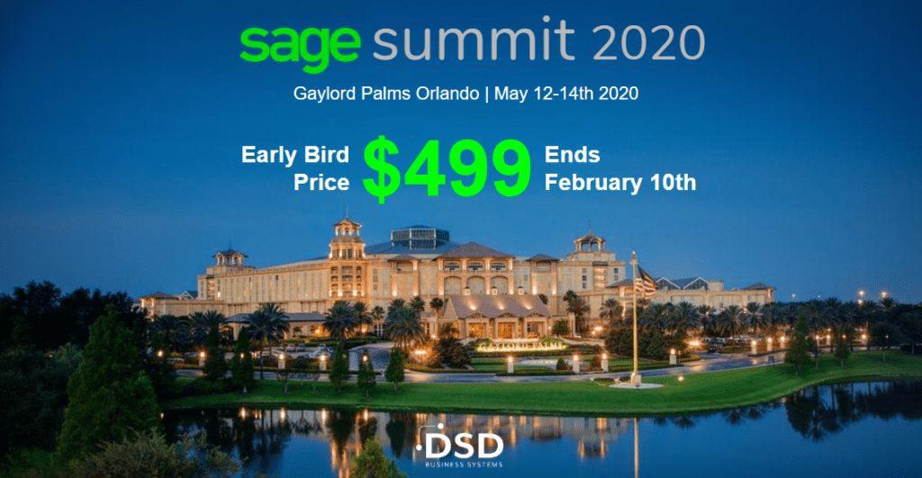Sage Summit 2020 Orlando Early Bird Price $499
