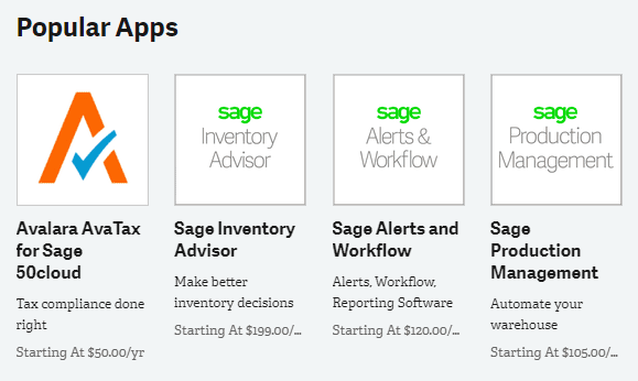 Sage Business Cloud Marketplace Popular Apps