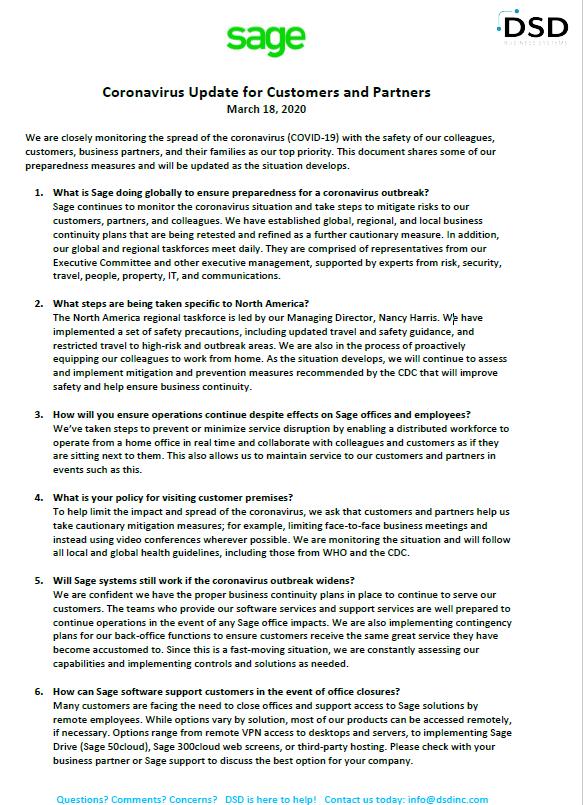 Sage COVID-19 FAQs