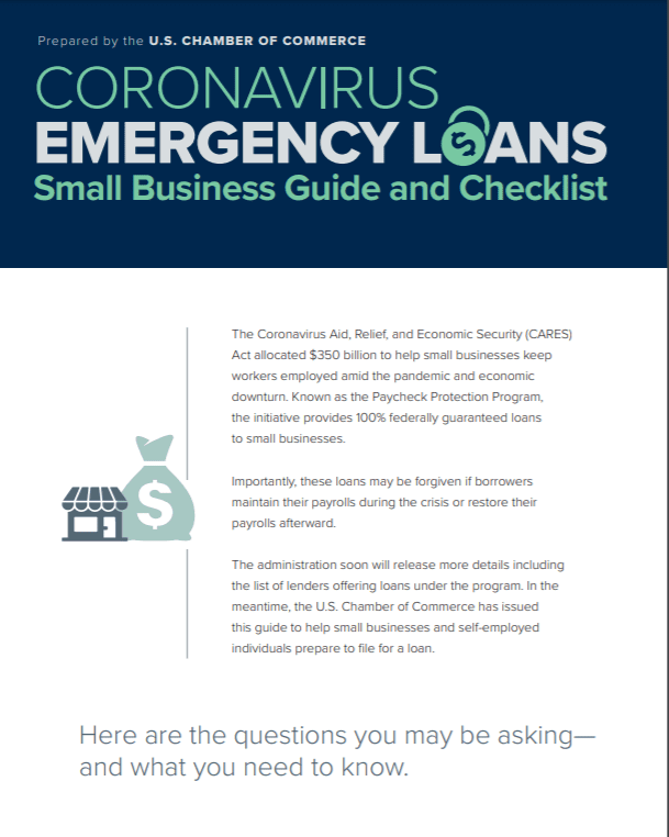 US Chamber of Commerce Coronavirus Small Business Loan checklist