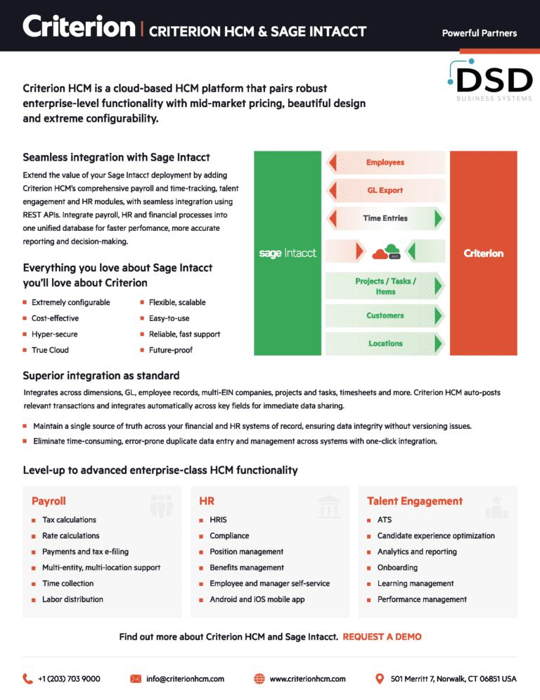 DSD Criterion Integration Sage Intacct