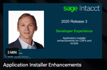 Sage Intacct 2020 R3 Developer Experience