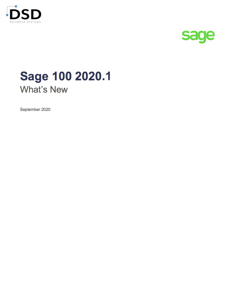 Sage 100 2020.1 What's New