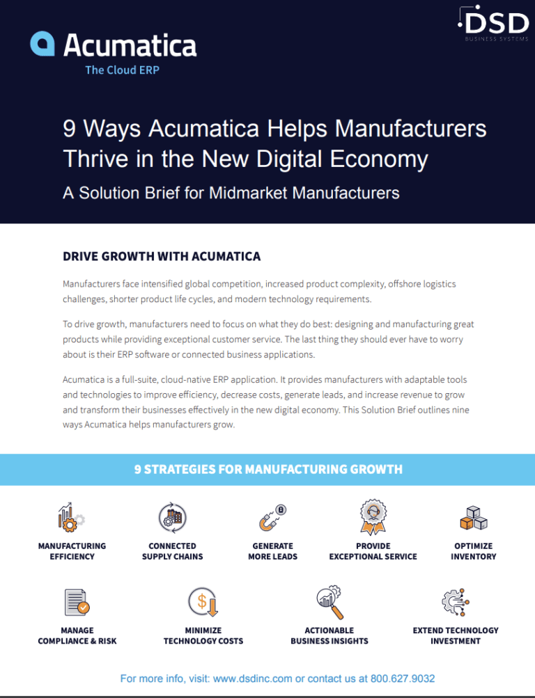 9 Ways Acumatica Helps Manufacturers Thrive in the New Digital Economy
