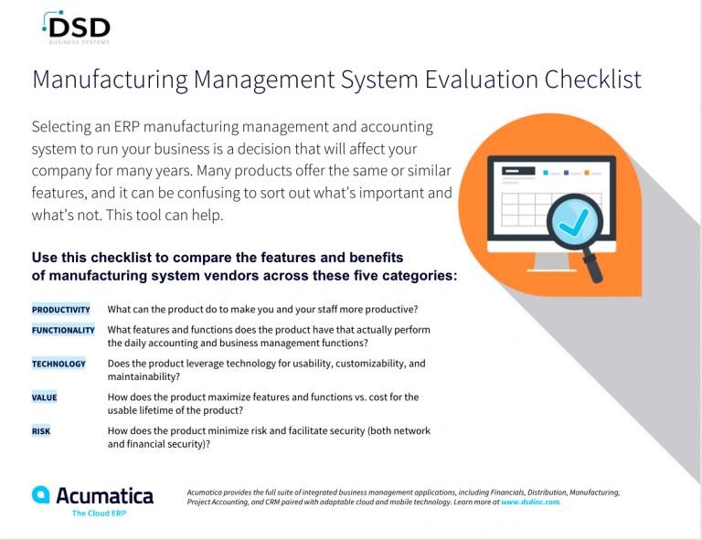 manufacturing ERP software, management system evaluation checklist