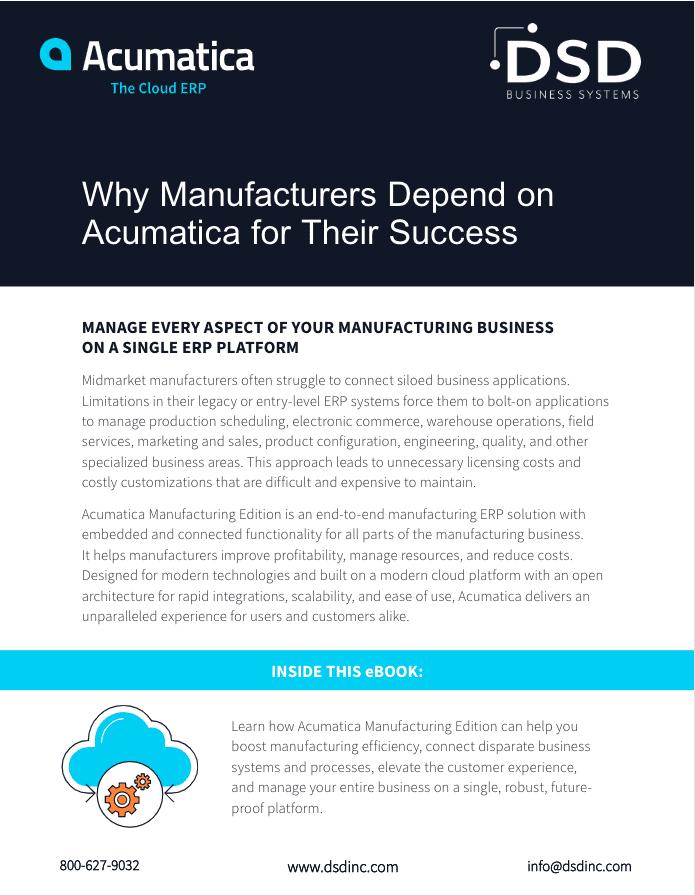 manufacturing ERP, Acumatica Manufacturing Edition