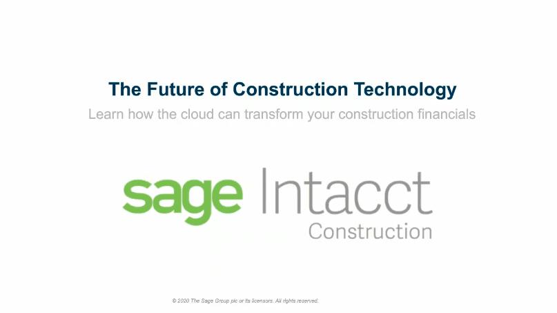 Sage Intacct Construction Webinar