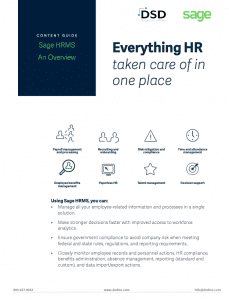Sage HRMS Overview Sheet