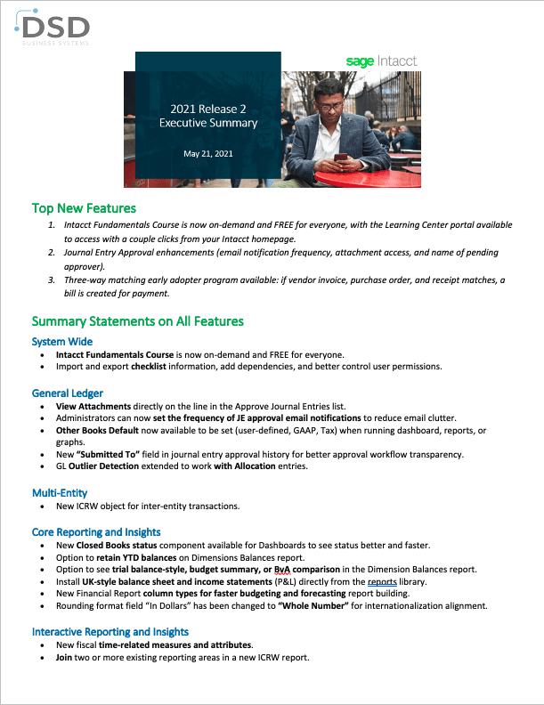 Sage Intacct 2021 Release 2 Executive Summary