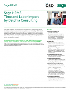 Sage HRMS Time and Labor Import