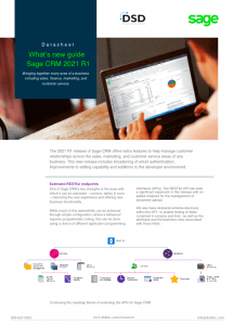 Sage CRM 2021 R1 What's New Guide