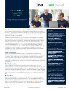 Sage CRM for Sage 100cloud Datasheet