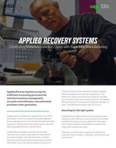 Sage 100 Manufacturing Success Story