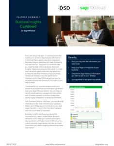 Sage 100 Cloud Business Insights Dashboard Datasheet