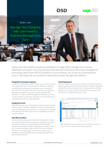 Sage 300 Manage Your Company with One Powerful Business Management Tool