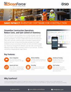 ScanForce Sage Intacct Inventory Software for Construction