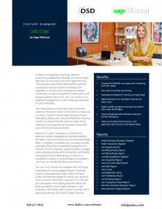 Sage 100 Feature Summery Job Cost for Sage 100