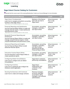 Sage Intacct Learning Membership Course Catalog